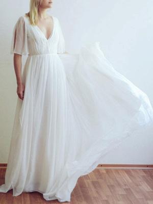 Simple Wedding Dress V Neck Half Sleeves Pleated A Line Floor Length Bridal Dresses_3
