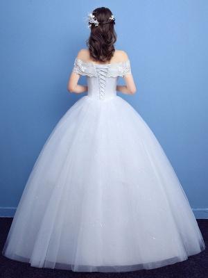 Robe de bal robe de mariée princesse silhouette parole longueur bateau cou manches courtes appliques tulle robes de mariée_7