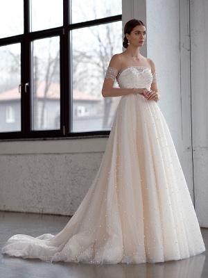 Weißes Brautkleid A-Linie Brautkleider Perlen Tüll Brautkleid_1