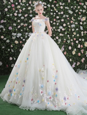 Flowers Quinceanera Dresses White Luxury Off The Shoulder Rhinestones Beading Short Sleeve Women'S Pageant Dresses With Train_2
