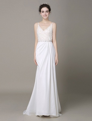Satin Sheath Wedding Dress Plunging Neckline Bow Back Belt Lace Beading Evening Dress Exclusive_1