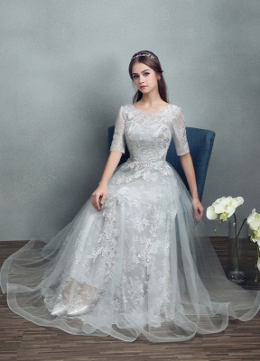 Robes de mariée d'été 2021 dentelle grise appliques Maxi robe de mariée dos nu demi-manches étage longueur robe de mariée_8