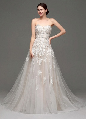 Wedding Dresses Champagne Tulle Strapless Sweatheart Lace Sash Bridal Gown_2