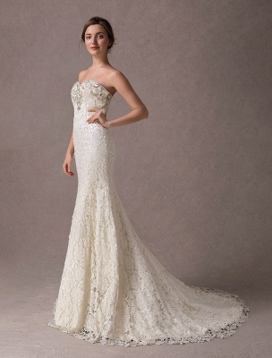 Mermaid Wedding Dresses Lace Strapless Ivory Sweetheart Beaded Bridal Dress With Train Exclusive_4