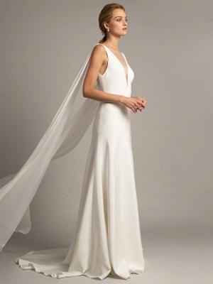 Robe de mariée simple blanche en tissu satiné à col en V sans manches à volants A-ligne longues robes de mariée_3