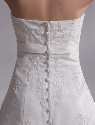 Elegant Ivory A-Line Strapless Rhinestone Tulle Bridal Wedding Dress_8