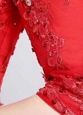 Brautkleid aus Spitze schulterfrei Elfenbein A-Linie Lace Up Half Sleeve Pailletten bodenlangen Brautkleid_10