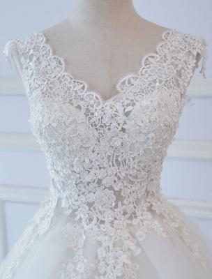 Robes de mariée princesse robes de bal dentelle col en V sans manches longueur de plancher robes de mariée_5