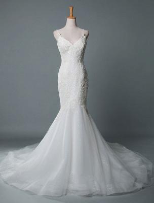 Einfache Brautkleider Spitze V-Ausschnitt Ärmellose Spitze Meerjungfrau Brautkleider mit Zug With_1