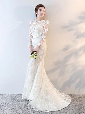 Brautkleider Langarm Meerjungfrau Blumen Applique Bows Elfenbein Brautkleid mit Zug_3