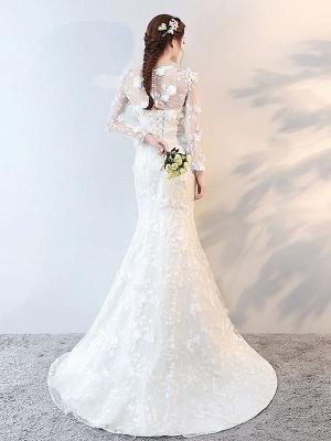 Brautkleider Langarm Meerjungfrau Blumen Applique Bows Elfenbein Brautkleid mit Zug_5