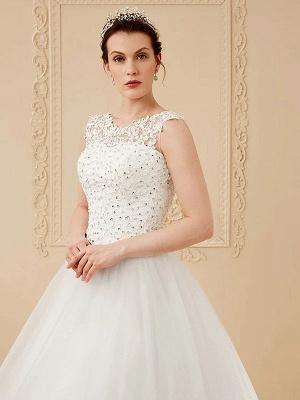 White Jewel Neck Sleeveless Soft Tulle Lace Up Floor Length Bride Dresses_5