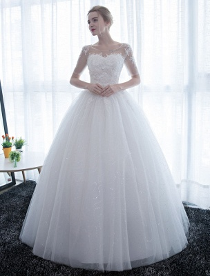 Ivory Wedding Dress Princess Ball Gown Bridal Dress Half Sleeve Lace Applique Pearls Beaded Sweetheart Floor Length Bridal Gown_4