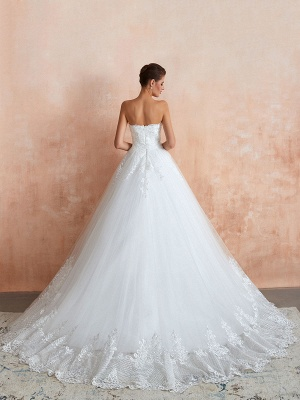 Wedding Dress Princess Silhouette Sweetheart Neck Sleeveless Natural Waist Bridal Gowns With Train_3