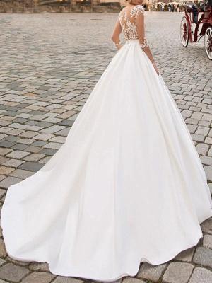 Brautkleider 2021 A Line V-Ausschnitt Halbarm Bodenlangen Spitze Applizierte Satin Vintage Brautkleid Mit Zug_2