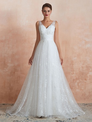 Wedding Dress 2021 A Line V Neck Sleeveless Floor Length Bridal Gowns With Train_4