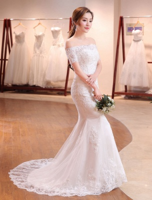 Mermaid Wedding Dresses Lace Beading Off The Shoulder Short Sleeve Fishtail Ivory Bridal Gown With Train_2