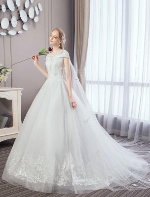 Vestidos de novia de princesa Encaje Watteau Tren Apliques Vestidos de novia de marfil con cuentas_2