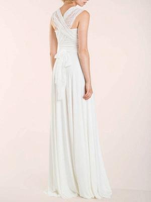 Einfache Brautkleider Mantel V-Ausschnitt Ärmellos Plissee Bodenlangen Mit Zug Spitze Brautkleider_7
