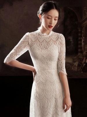 Weißes einfaches Brautkleid A-Linie Jewel Neck Half Sleeves Lace Tee Länge Brautkleider_2
