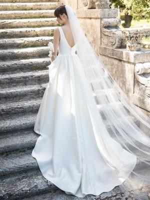 Elfenbein A-Linie Brautkleider mit Zug Ärmellose Taschen V-Ausschnitt Backless Satin Stoff Lange Brautkleider_5