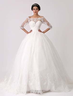 Off The Shoulder Princess Lace Wedding Dress With Illusion Neckline Exclusive_1