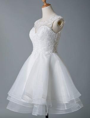 Brautkleider 2021 A Line Jewel Neck Ärmellos Natürliche Taille Tüll Kurzes Brautkleid_4