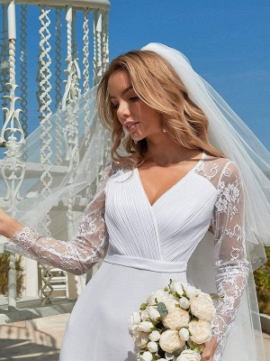 White Simple Wedding Dress Lace V-Neck Long Sleeves Lace Chiffon Pleated A-Line Long Bridal Gowns_3