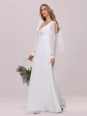 White Simple Wedding Dress A-Line V-Neck Long Sleeves Natural Waist Chiffon Long Bridal Dresses_5