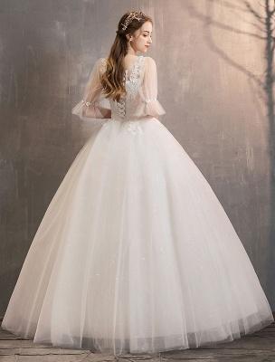 Tüll Brautkleid Elfenbein Spitze Applique Blumendetail Halbarm Prinzessin Brautkleid_6