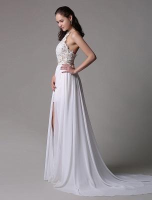 White Prom Dresses 2021 Long Ivory Halter Backless Evening Dress Lace Applique Beading Chiffon Split Party Dress_8