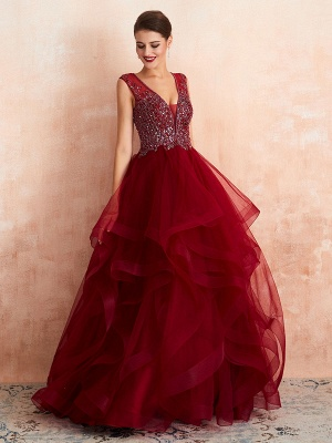 Ball Gown Wedding Dress Princess Floor Length V Neck Sleeveless Sequins Tulle Bridal Dresses_2