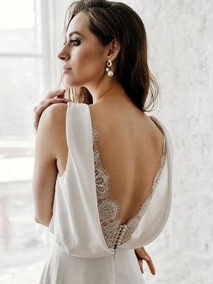 Vestido de novia blanco simple con tren Escote en V Sin mangas Sin espalda Encaje Una línea de vestidos de novia de gasa_7