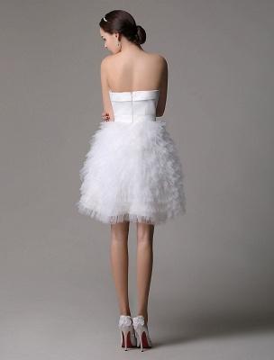 Robe de mariée courte en satin sans bretelles avec jupe fatiguée en tulle_6