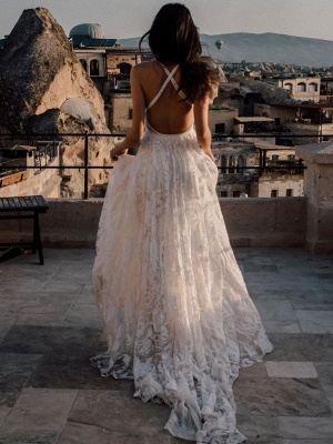 Beach Wedding Dress With Chapel Train White V-Neck Sleeveless Backless Lace Split Long Bridal Gowns_4