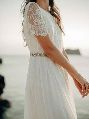 Einfache Hochzeitskleid A-Linie Jewel Neck Spitze Kurzarm Bodenlangen Chiffon Strandhochzeit Brautkleider_6
