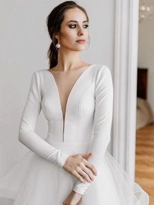 Weiße A-Linie Brautkleider Bodenlang Lange Ärmel Abgestufter V-Ausschnitt Natürliche Taille Bodenlange Brautkleider_4