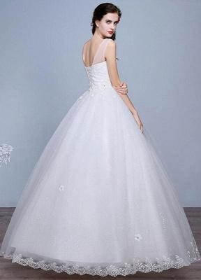 Ivory Wedding Dress Lace Sleeveless V Neck Rhinestones Beaded A-Line Floor Length Bridal Gown_4