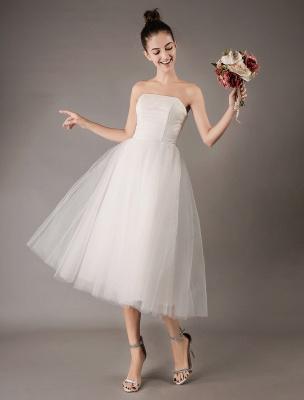 Vestidos de novia vintage Vestido de novia corto de tul sin tirantes hasta el té Exclusivo_4