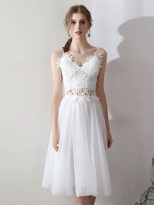Short Wedding Dresses V Neck Sleeveless A Line Natural Tea Length Waist Organza Bridal Dresses_4