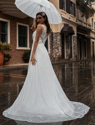 Weißes Brautkleid Illusion Ausschnitt Ärmellose Applikation Chiffon Bodenlangen Brautkleider Zug Kleid_5