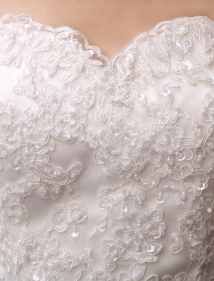 Wedding Dresses Mermaid Strapless Bridal Gown Lace Applique Beading Waist Sweetheart Neck Court Train Wedding Gown_6