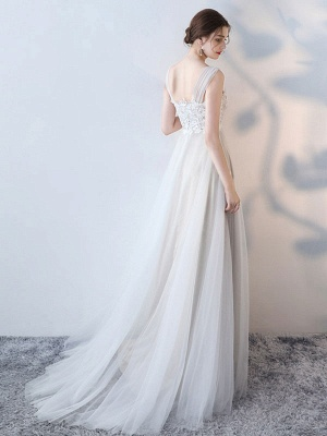 Simple Wedding Dress 2021 A Line Jewel Neck Sleeveless Bows Lace Tulle Bridal Dresses_3