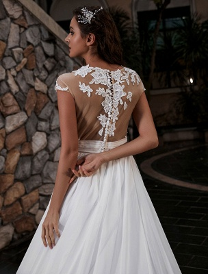 Vestido de novia Playa Corte en A Silueta Joya Cuello Encaje Corpiño Gasa Vestido de novia_5