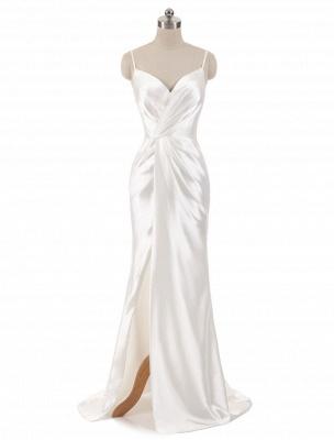 Brautkleider Meerjungfrau Ärmellose Abendkleider V-Ausschnitt Träger Split Elfenbein Brautkleid mit Hofzug Bridal_1