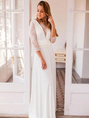 Robes de mariée A-ligne Jewel Neck manches longues en dentelle dos nu en mousseline de soie Robes de mariée_2