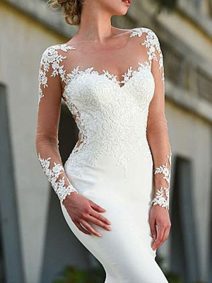 Brautkleider Jewel Neck Long Sleeves Lace Mermaid Brautkleider mit Kleid_3