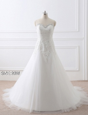 Tulle Wedding Dress Lace Beading Bridal Gown Strapless Sweetheart Chapel Train A-Line Backless Bridal Dress_10