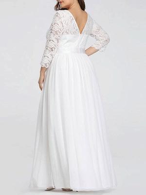 Einfache Brautkleider Spitze Chiffon bodenlangen 3/4 Ärmeln Schärpe Jewel Neck Plus Size Beach Brautkleider_3