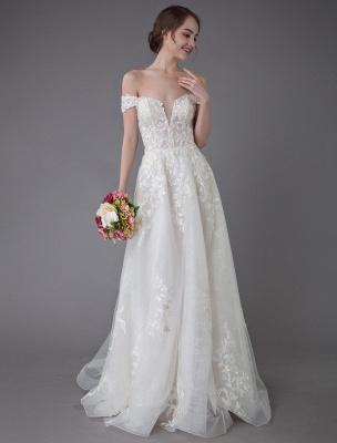 Robes de mariée d'été hors de l'épaule dentelle champagne appliques perles maxi plage robes de mariée_2